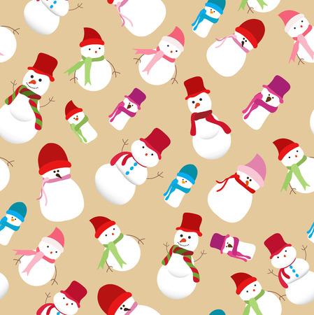 stovepipe: christmas snowman seamless pattern Illustration