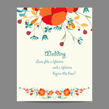 Wedding invitation card with abstract floral background Vector
