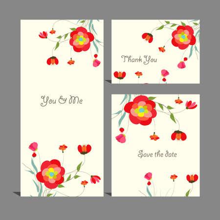Wedding invitation, thank you card Vector