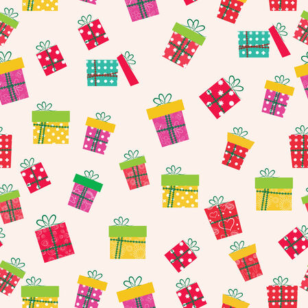 christmas gifts icons seamless pattern