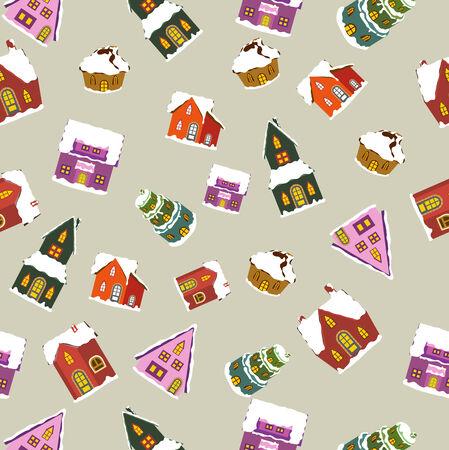 christmas houses seamless pattern