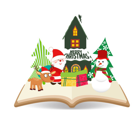 merry christmas santa claus and snowman on book Vector