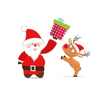 oldman: Santa claus and deer, gift greeting card