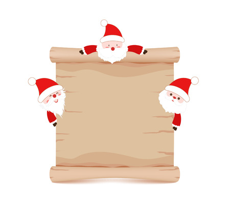 oldman: santa claus and parchment sign funny Illustration