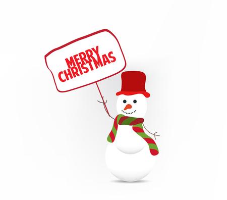 snowman holding board Vector