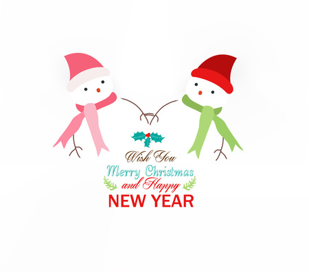 snowman wearing scarf christmas Vector