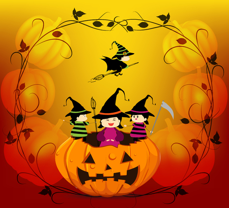 trick or treating: halloween background with trick treating Illustration