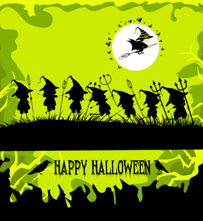 treating: halloween party background with children trick or treating