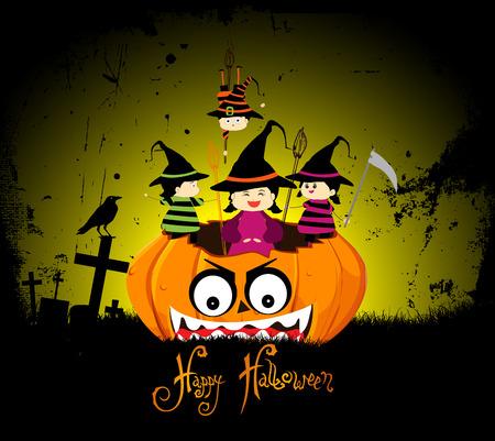 treating: Halloween party children wearing costume