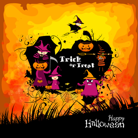 trick or treating: Halloween with children trick or treating Illustration