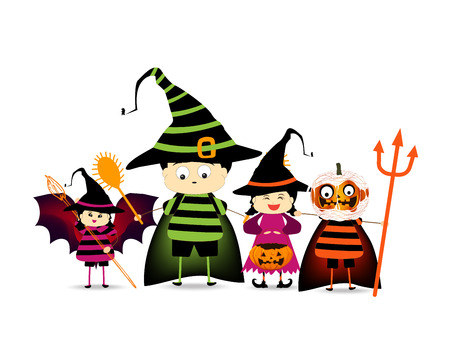 trick or treating: Happy Halloween party with children trick or treating Illustration