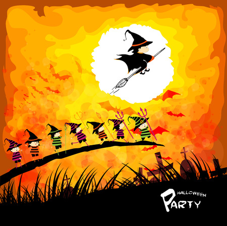 treating: Happy Halloween party with kids under the moon