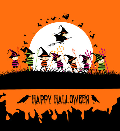 treating: Happy Halloween party with kids