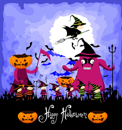 treating: Happy Halloween with children trick or treating Illustration