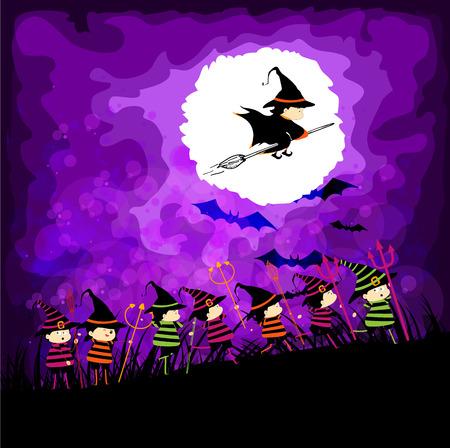 kids halloween party under the moon Vector
