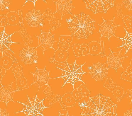 halloween background: spider on webs seamless pattern on orange Illustration