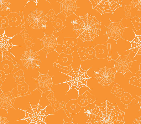 spider on webs seamless pattern on orange Illustration