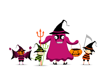 trick or treating: Kids Trick or Treating by a witch