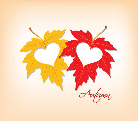 passion ecology: autumn leaves with hearts Illustration