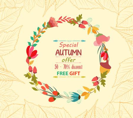 passion ecology: Autumn sale leaves background retro