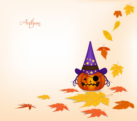 passion ecology: pumpkin and autumn background Illustration