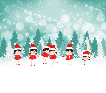 caroler: baby girls on Winter forest background
