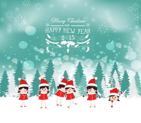 caroler: Christmas Greeting Card. Merry Christmas lettering
