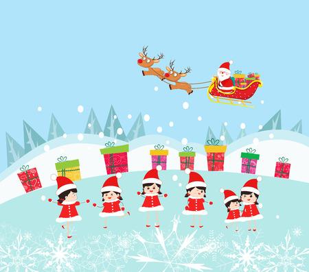 тундра: Счастливые Клаус Дети Отделка Санта с подарками