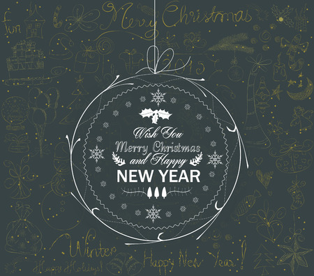 christmas and happy new year ball greeting card Vector