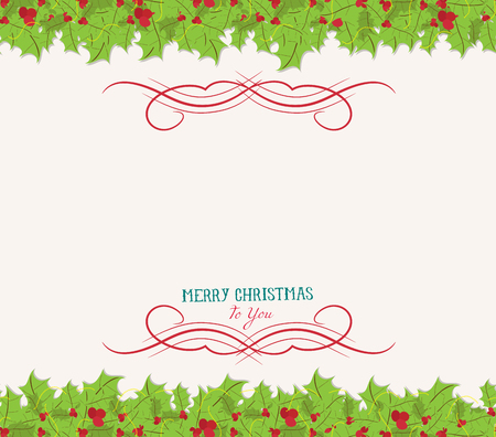 christmas decorations with white background: Christmas holly top and bottom border