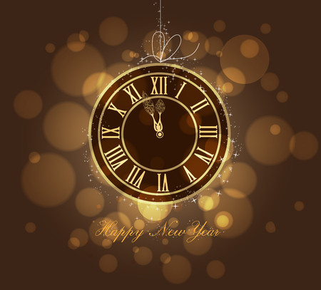 appy New year gold clock Vector