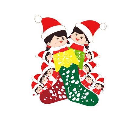 christmas stocking: kids huddled toghether inside a christmas stocking