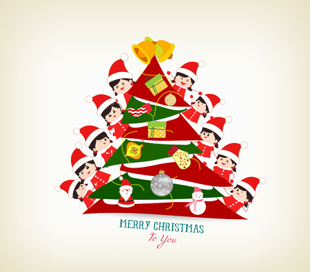 multi racial: kids peeping behind christmas tree Illustration