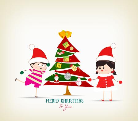 santaclause: vintage christmas tree and kids funny