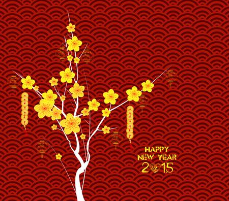 flor de cerezo: Feliz A�o Nuevo Chino fondo de flores Linternas Vectores