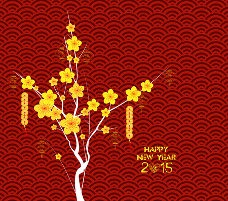 cherry blossom: Happy Chinese New Year Flower Lanterns background