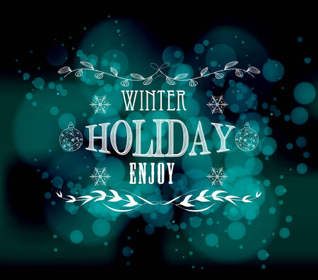 blue christmas background: winter holiday enjoy light vector background