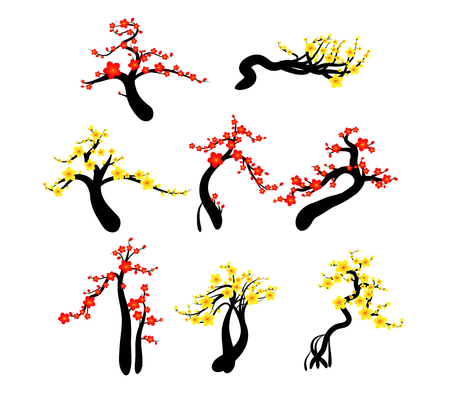 Chinese New Year cherry blossoms background Vector