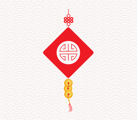 gold coin: Chinese New Year Greeting with gold coin Illustration
