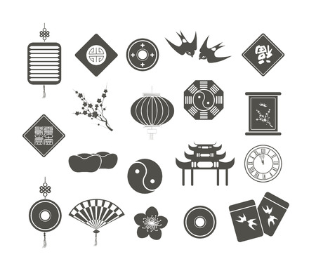 god of wealth chinese new year: Chinese New Year Icons Illustration