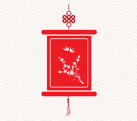 god of wealth chinese new year: Chinese scroll with chinese calligraphy Illustration