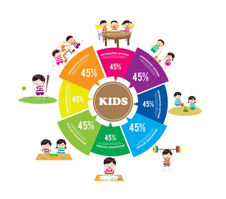 kids Learning and Playing infographic Vector