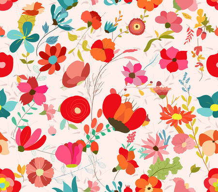 elegantly: vintage seamless pattern with abstract flowers Floral background