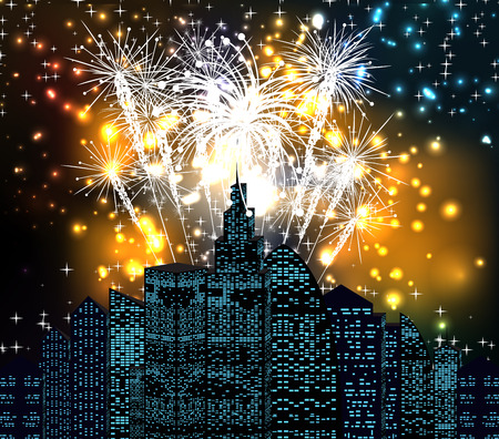 new year with fireworks night skyline Vector