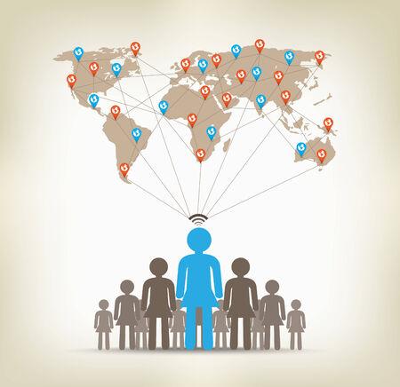 globális kommunikációs: Csapat nők globális kommunikációs koncepció készletek Illusztráció