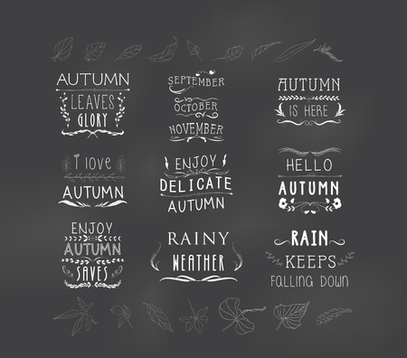 temperate: set of autumn themed retro design elements fall vintage elements