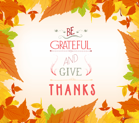 pocahontas: happy thankgiving with leaves greeting card Illustration
