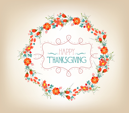 happy thankgiving with leaves greeting card Illustration