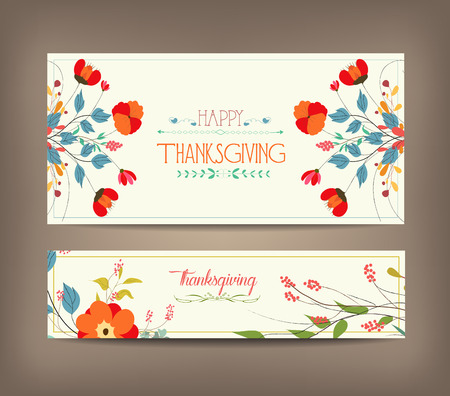 Floral background thanksgiving greeting card Illustration