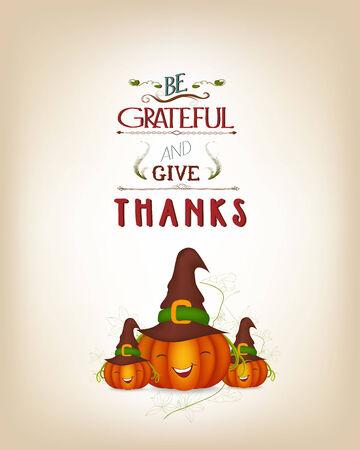 grateful: grateful and thanksgiving greeting card Illustration